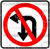 No Left Or U Turn Sign