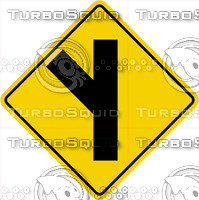 Caution Road Split Left Sign