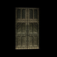 Medieval panelled studded door