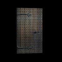 Medieval studded wooden door
