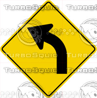 Caution Curve Left Sign
