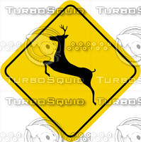 Caution Deer Crossing Sign