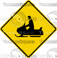 Caution Snowmobile Sign