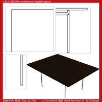LC12 Table Wood Top 160x120 Multi-View Block