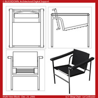LC1 Sling Chair Multi-View Block