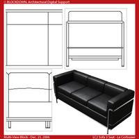 LC2 Sofa 3 Seat Multi-View Block