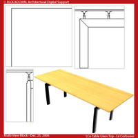 LC6 Table Wood Top Multi-View Block