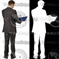 Business man with blue file 04 - cut out from background with alpha mask