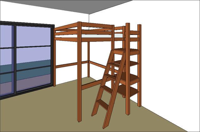 Building rfa mezzanine lit bed - Lit mezzanine armoire ...