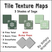 Tile Texture Maps - 3 Shades of Sage