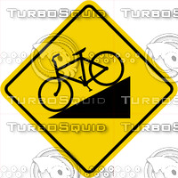 Caution Hill Bike Sign