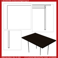 LC12 Table Wood Top 120x80 Multi-View Block