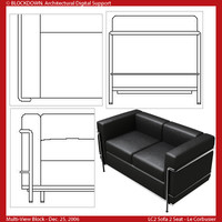LC2 Sofa 2 Seat Multi-View Block