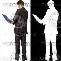 Business man with blue file 05 - cut out from background with alpha mask