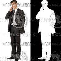 Business man with cell phone 07 - cut out from background with alpha mask