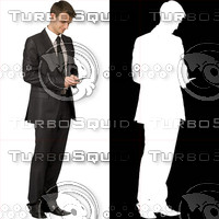 Business man with cell phone 10 - cut out from background with alpha mask