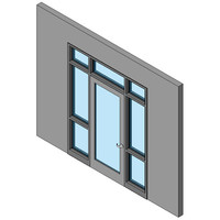 Hollow Metal Swing Door, Single With Two Sidelites And Transom