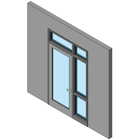 Hollow Metal Swing Door, Single With Sidelite And Transom