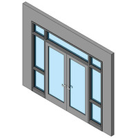 Hollow Metal Swing Door, Double With Two Sidelites And Transom
