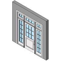 Wood Exterior Entry Swing Door, Single With Sidelites And Transom