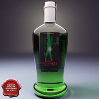 3d model of bottle absinthe liqueur