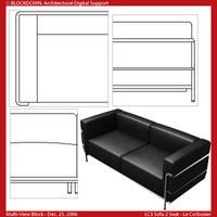 LC3 Sofa 2 Seat Multi-View Block