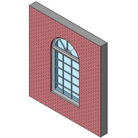 Fixed Window, Single With Half-round Transom