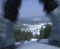 Skiing over camera
