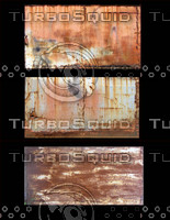 3 x Very rusty metal panels