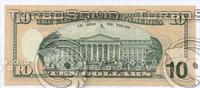 10, 100.1, dollar banknotes . back side