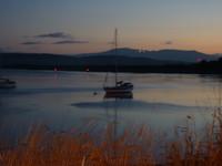 Scene - Boat in sun rise scotland