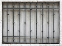 Stone Wall Window with Iron Bars 04