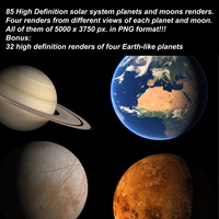 85 Planets and Moons renders. PNG version.