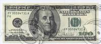 100,1 ,10  , dollars banknotes.