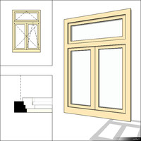Window Casement Double Transom 00231se