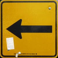 Los Angeles traffic arrow yellow rotated