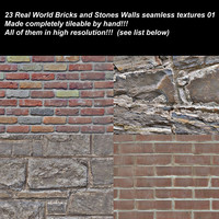 23 high definition real world bricks and stones walls textures.