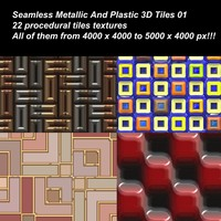 22 High definition procedural metallic and plastic 3D tiles textures.