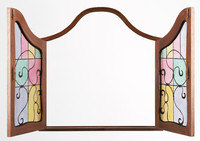 stained glass window open and closed