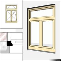 Window Casement Double Transom 00235se