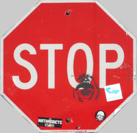 Los Angeles Stop Sign with grime and graffiti