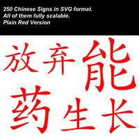Chinese Signs in SVG format (source files). Plain Red Version.