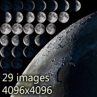 Moon. All phases. 29 moon days in high resolution.