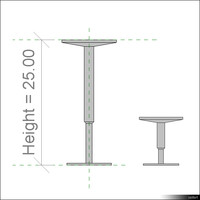2D Raised Floor Pedestal01109se