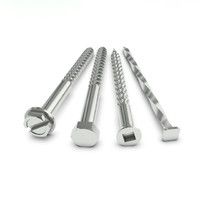 Four stainless steel fasteners on white floor