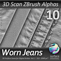 Worn Jeans ZBrush Alphas vol.1