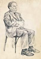 sitting man-s model