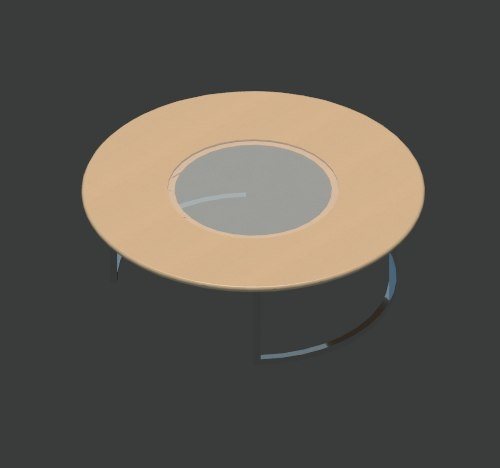Coffee Table - Circular, Glass Centre.png