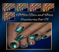Glitter, Glow and Shine manicures for V4