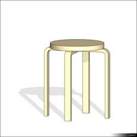 Stool round wood 01359se